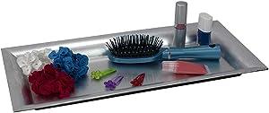 Home Basics Sturdy Plastic Vanity Tray, Decorative Makeup Holder, Free Standing, Bathroom, Bedroom & Living Room, Silver