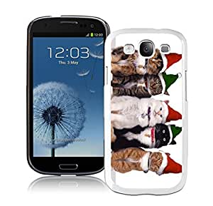 Hot Sell Green Red Christmas Hat Cats White TPU Samsung Galaxy S3 Case,Case For Samsung I9300 by lolosakes