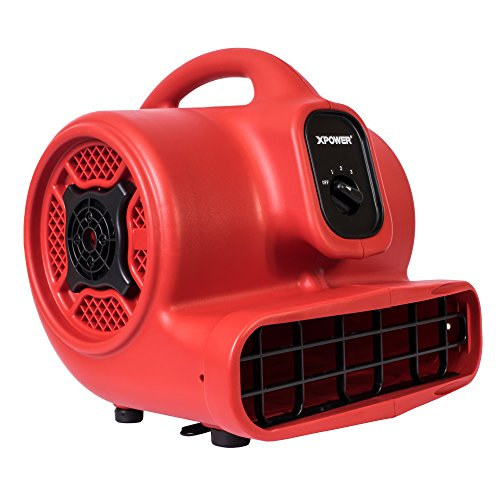 - XPOWER P-430 1/3 HP Air Mover, Carpet Dryer, Floor Fan, Utility Blower - Red