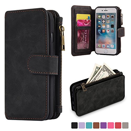 kiwitat-genuine-leather-case-cover-zipper-wallet-card-multifunction-for-iphone-6-plus-6s-plus-black