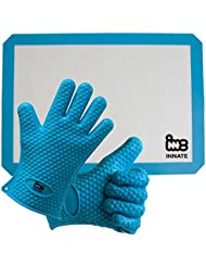 INNATE Silicone cooking gloves & baking mat: non stick/ non slip/ heat resistant. Barbeque (BBQ)/ grill glove hand protection + food safe cooking sheet tray liner 16.5 x 11.5/8. Easy wash.