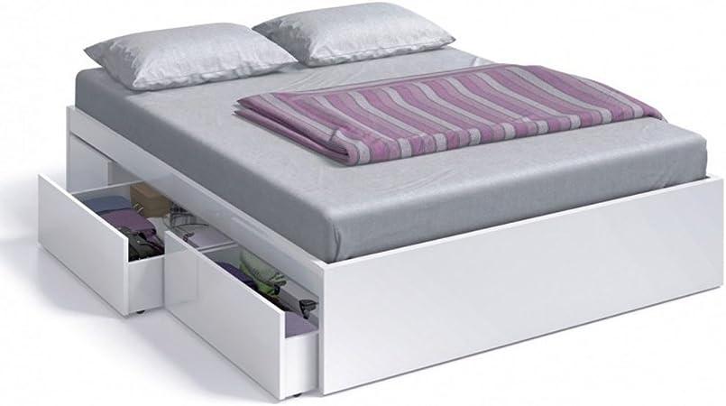 Habitdesign (006084BO - Cama con 4 cajones para somier de 135x190 y 140x190, Color Blanco Brillo, Dimensiones Exteriores 1,46 Ancho x 1,96 Largo cm x ...