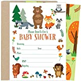 Baby : 25 Woodland Baby Shower Invitations with Envelopes (5x7 Inch)