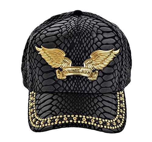 (Robin's Jean Crackle Cap With Black Diamond SW and Gold Studs Curve Bill Snap Back Black One)