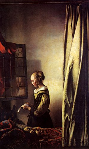 (Quality Prints - Laminated 24x39 Vibrant Durable Photo Poster - Jan Vermeer - Girl Reading a Letter at an Open Window - Johannes)