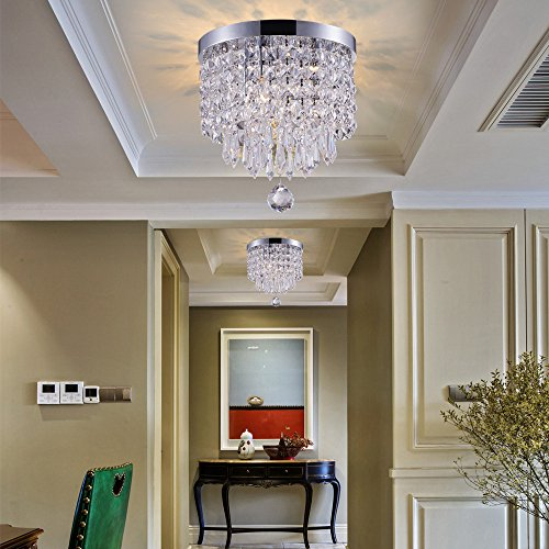SHUPREGU Smart Lighting 3-Light Modern Crystal Chandelier, Flush Mount Crystal Ceiling Light, Chrome Finish Pendent Light for Hallway, Bedroom, Kitchen, Dimmer LED Bulbs Included by SHUPREGU (Image #2)