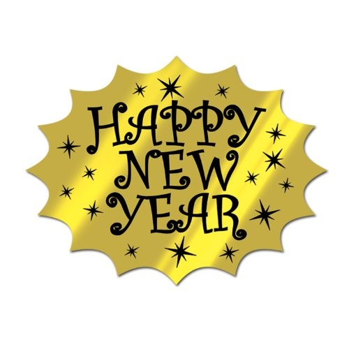 [Beistle 88079-BKGD Black and Gold Foil Happy New Year Cutout, 13-Inch, 1 Per Package] (Happy New Year Costumes)
