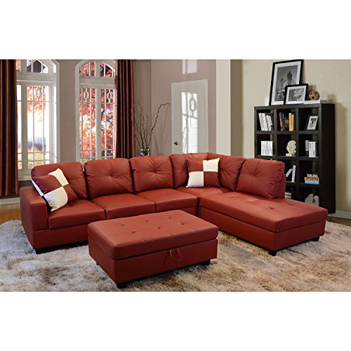 Lifestyle Red 3-Piece Faux Leather Right-facing Sectional Sofa Set with Storage Ottoman