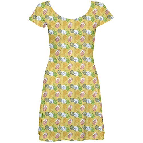 Colorful Sleeve Juce Juce Pattern Pineapple Short Pineapple Green Green Skater Colorful Pattern Dress awqdxSSC