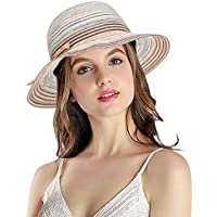 YoungLove Women's Summer Foldable Floppy Colorful Stripe Straw Hat