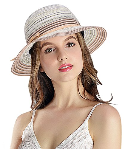 Women's Summer Foldable Floppy Colorful Stripe Straw Hat Stripe Straw Hat