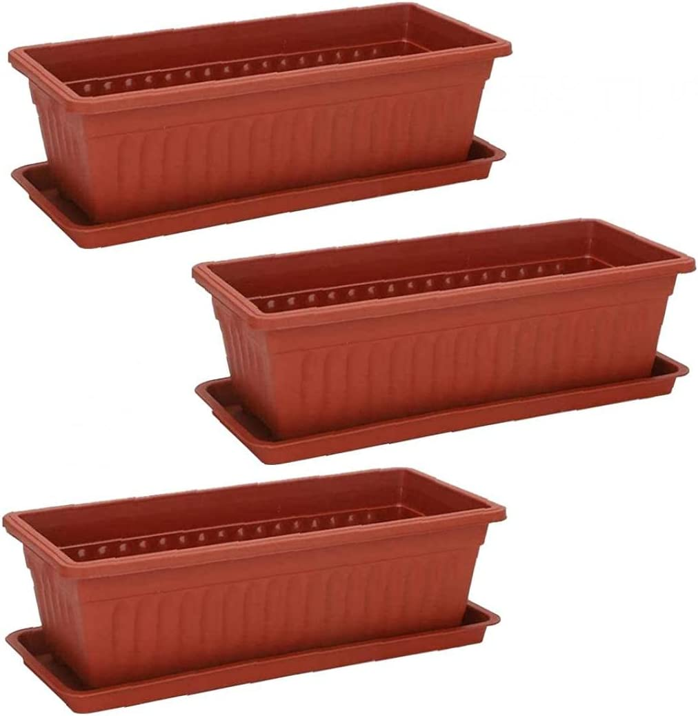Yililay Window Box Planter,3PCS Rectangular Windowsill Flower Pot Herb Vegetables Growing Container for Patio Garden Red 441914cm