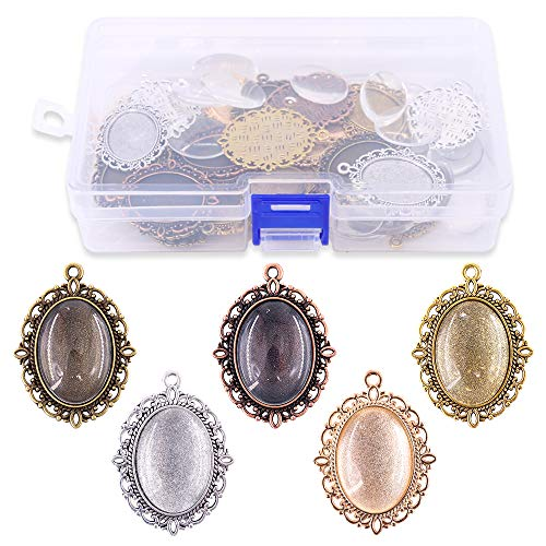 - Glarks 70Pcs Oval Pendant Set, 35Pcs 5 Colors Pendant Trays and 35 Pieces Bright Glass Cabochon Dome Tiles for Bracelet Necklace Crafting DIY Jewelry Gift Making