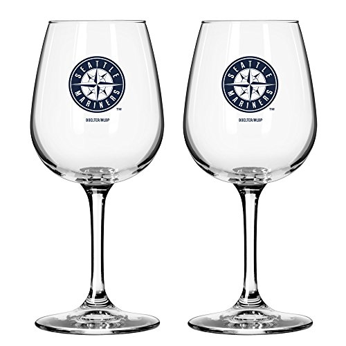 MLB Seattle Mariners Game Day Wine Glass, 12-ounce, 2-Pack