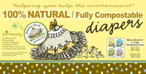 Broody Chick 100% Natural Fully Compostable Diapers Jumbo Box (Newborn 6.6 - 13.2 lbs. (144-Count)) by Broody Chick