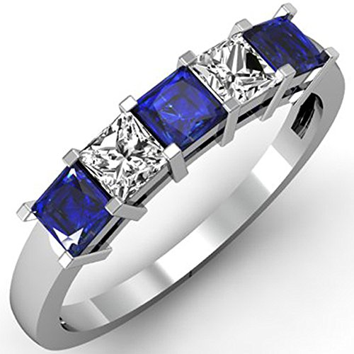 10K White Gold Princess Blue S