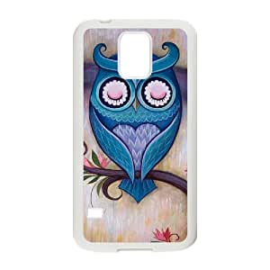 Diy Colorful Cute Aztec Owl Custom Cover Phone Case for samsung galaxy s5 White Shell Phone [Pattern-5]