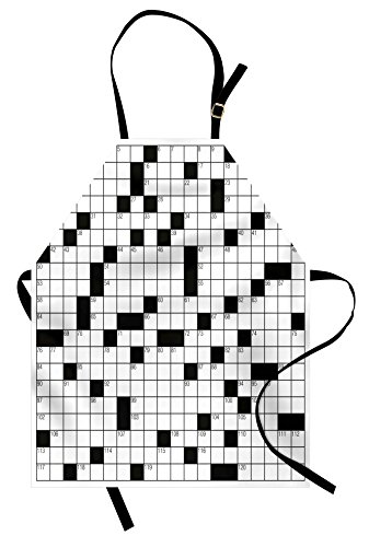 - Ambesonne Word Search Puzzle Apron, Classical Crossword Puzzle with Black and White Boxes and Numbers, Unisex Kitchen Bib Apron with Adjustable Neck for Cooking Baking Gardening, Black and White