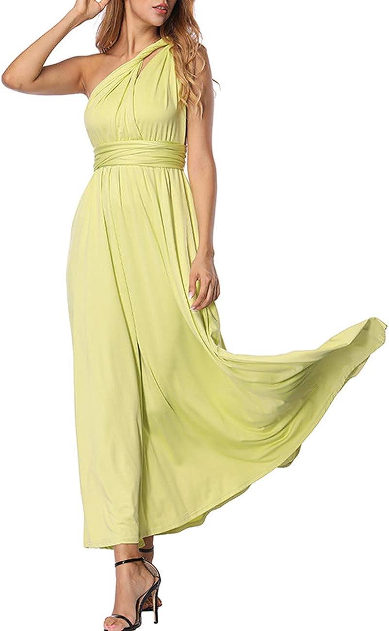 TALLA S(ES 36-40). FeelinGirl Mujer Vestido Maxi Convertible Espalda Decubierta Cóctel Multiposicion Tirantes Multi-Manera Largo Falda para Fiesta Ceremonia Sexy y Elegante Verde Claro S(ES 36-40)