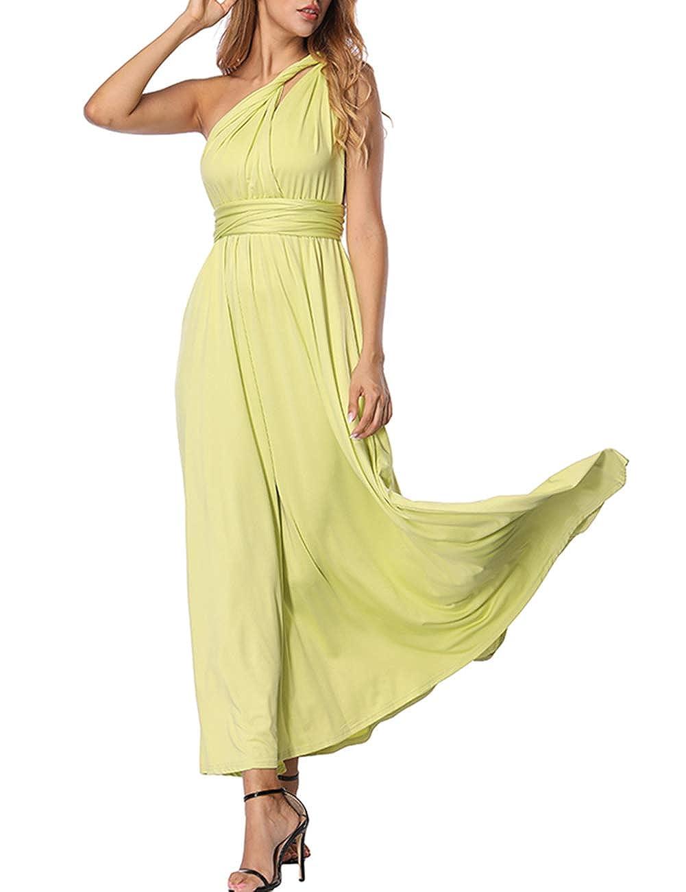 TALLA XL(ES 46-50). FeelinGirl Mujer Vestido Maxi Convertible Espalda Decubierta Cóctel Multiposicion Tirantes Multi-Manera Largo Falda para Fiesta Ceremonia Sexy y Elegante Verde Claro XL(ES 46-50)