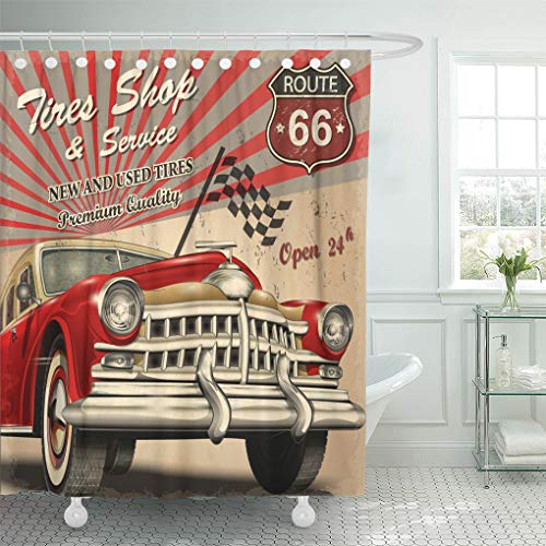 Semtomn Shower Curtain Waterproof Polyester Fabric 72 x 78 inches Vintage Tire Service Retro Car Signage Label Garage Repair Sign Set with Hooks Decorative Bathroom Curtains