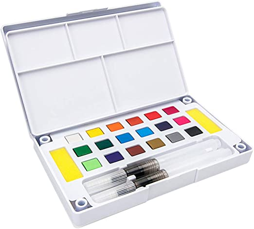 HEALLILY Conjunto de Pintura de Acuarela 18 Colores Vibrantes Surtidos en Caja de Lata Paleta de Acuarela con Pincel de Agua para Niños Artistas Adultos Pintura de Arte: Amazon.es: Hogar
