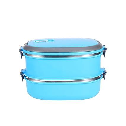 Yosoo – Tartera portátil para alimentos, de acero inoxidable, con asa, para comida, caja de almacenamiento para alimentos, azul, 2 Etage