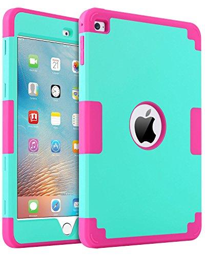 iPad-Mini-4-Case-iPad-Mini-4-Retina-Case-BENTOBEN-Anti-slip-Shock-Absorption-Silicone-High-Impact-Resistant-Hybrid-Three-Layer-Armor-Protective-Case-Cover-for-iPad-Mini-4-Mint-GreenRose-Red