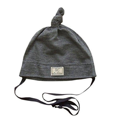 - Pickapooh Hat Merino Wool Silk Baby Girl Boy Newborn Bonnet Natural Organic Grey Paula (46 cm (18,1 in), Solid Grey)