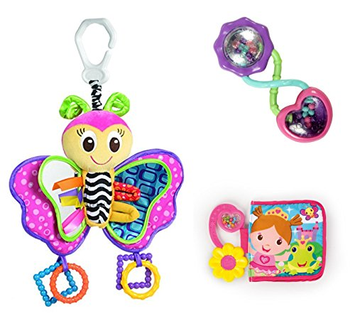 Playgro Baby Activity Set Friend Blossom Butterfly, Pretty Palace Crinkle Book and Rattle and Shake Barbell (Stroller Toy Blossom)