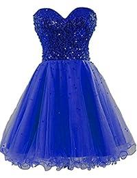 Amazon.com: strapless royal blue sequin short prom dress