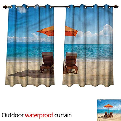 - cobeDecor Coastal 0utdoor Curtains for Patio Waterproof Two Chairs Caribbean Sea W120 x L72(305cm x 183cm)