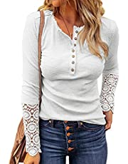 imrusan Womens Henley V Neck T-Shirt Long Sleeve Lace Button Down Blouse Ribbed Slim-Fit Top, S-2XL