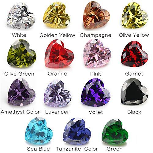1PCS Per Colors Total 15pcs Size 3x3mm ~ 10x10mm Heart Shape Loose Cubic Zirconia Stone CZ (3x3mm) ()