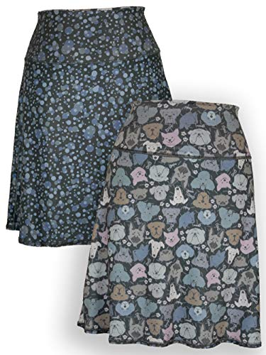 (Green 3 Novelty Reversible Skirt - Womens Recycled Skirt, Made in The USA (Dog & Dots, Small) )