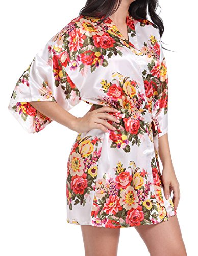 Silk Kimono Dress (DF-deals Women's Satin Floral Robes for Bride and Bridesmaid Wedding Party Kimono Silk Robes Nursing Gown Short,White,Large/US 8-10)