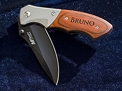 Personalized Knife Husband Groomsmen Gift Groomsman Hunting Man Engraved Custom Pocket Knives- Folding Blade Rustic Buck Knifes Spring Assisted Opening Mens Boyfriend Wedding Gifts