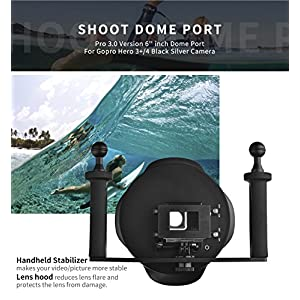 D&F 6'' 3.0 Pro Diving Housing Underwater Photography Dome Port Handheld Stabilizer for Gopro Hero 4 3+ with External Monitor Display Viewer LCD Screen