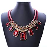 YAZILIND Red Charm Pendant Chain Choker Chunky Bib Statement Short Necklace Collar