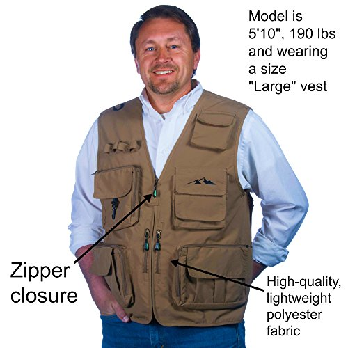 Autumn Ridge Traders Fly Fishing Photography Climbing Vest with 16 Pockets Made with Lightweight Mesh Fabric for Travelers, Sports, Hiking, Bird Watching, River Guide Adventures and Hunting.