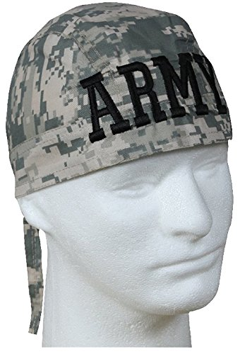 ARMY ACU Digital Camouflage Doo Rag and Sticker Military Skull Cap Camo Durag Wrap