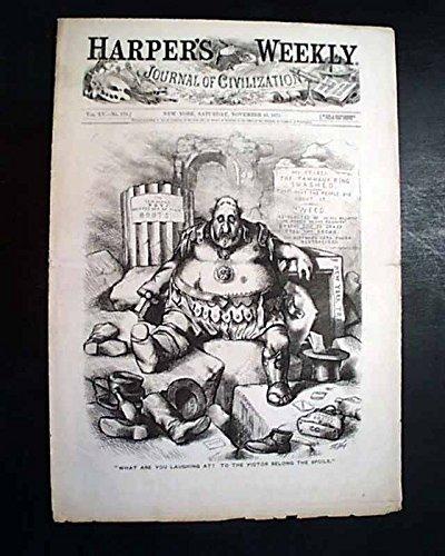 PESHTIGO FIRE Wisconsin Forest Disaster PRINT & Victoria Woodhull 1871 Newspaper HARPER'S WEEKLY, New York, Nov. 25, 1871