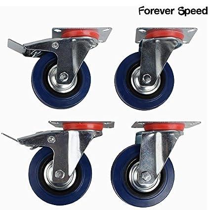 Speed Lot de 4 roulettes de transport Roulettes charges lourdes rouleaux Bock Rouleau meubles roues Roulettes avec freins Bleu Elastic caoutchouc Tô le d'acier Forever Speed