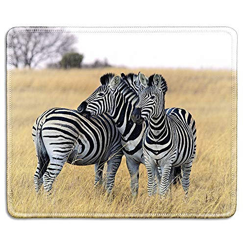 dealzEpic - Wild Animal Art Mousepad - Natural Rubber Mouse Pad Printed with Zebras on South Africa Safari - Stitched Edges - 9.5x7.9 inches