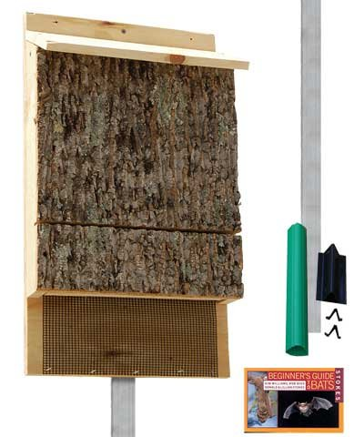 Single Chamber Bark Clad Bat House for Outdoors with Pole Kit, 100 Bats
