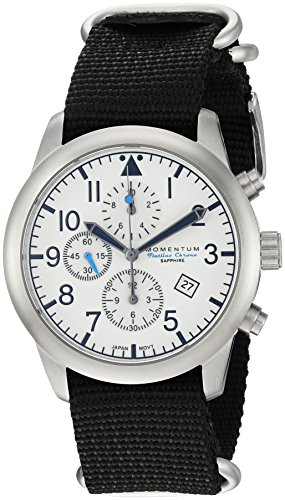 Momentum Men's 'Chronograph Collection' Quartz Stainless Steel and Nylon Casual Watch, Color:Black (Model: 1M-SN34LS7B)