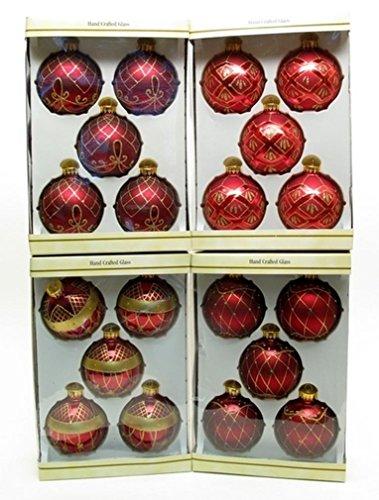 Glass Ball Ornament 5pc Set Burgundy with DiamondNet Design 4 Asst Sets Price (Wholesale Glass Ball Ornaments)