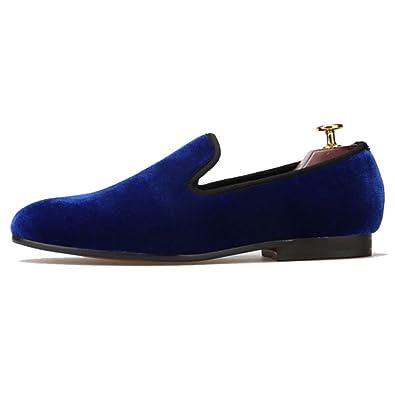 c732fa70e2658 Amazon.com | FERUCCI Handmade Men Plain Royal Blue Velvet Loafers ...