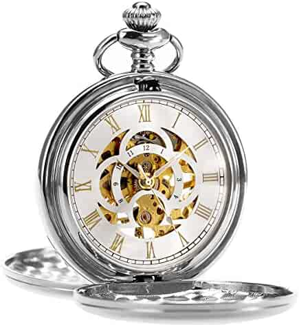 ManChDa Pocket Watch Retro Smooth Classic Mechanical Hand-Wind Steampunk Roman Numerals Fob Watch for Men Women with Chain + Gift Box (1.Silver)