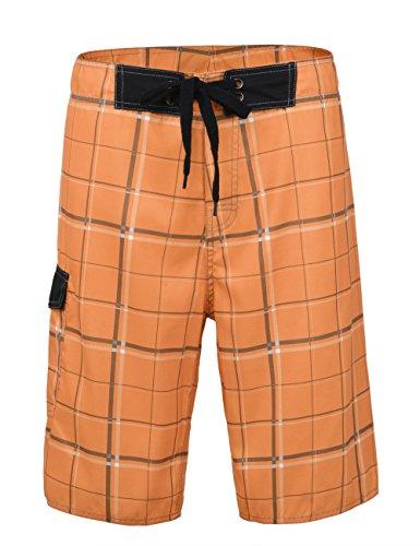 Nonwe Men's Beachwear Board Shorts Quick Dry Plaid Pattern Orange 34